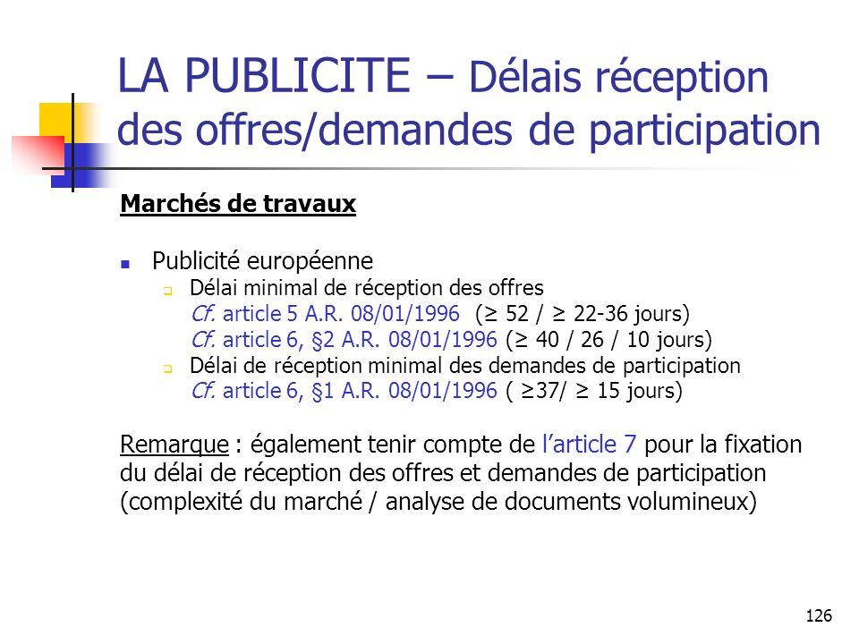 LA PUBLICITE – Délais réception des offres/demandes de participation