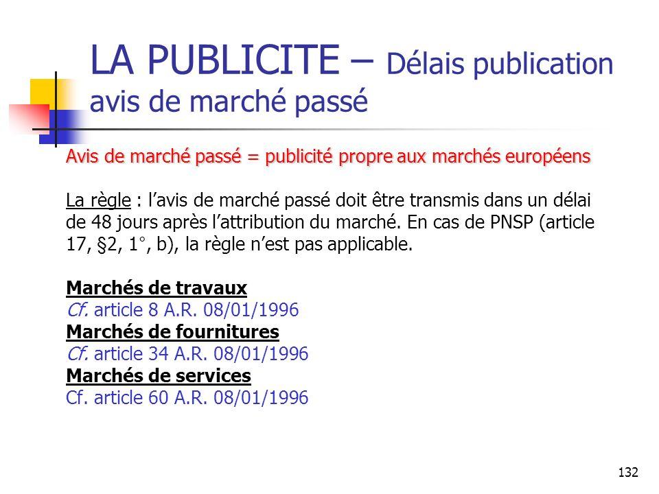 LA PUBLICITE – Délais publication avis de marché passé