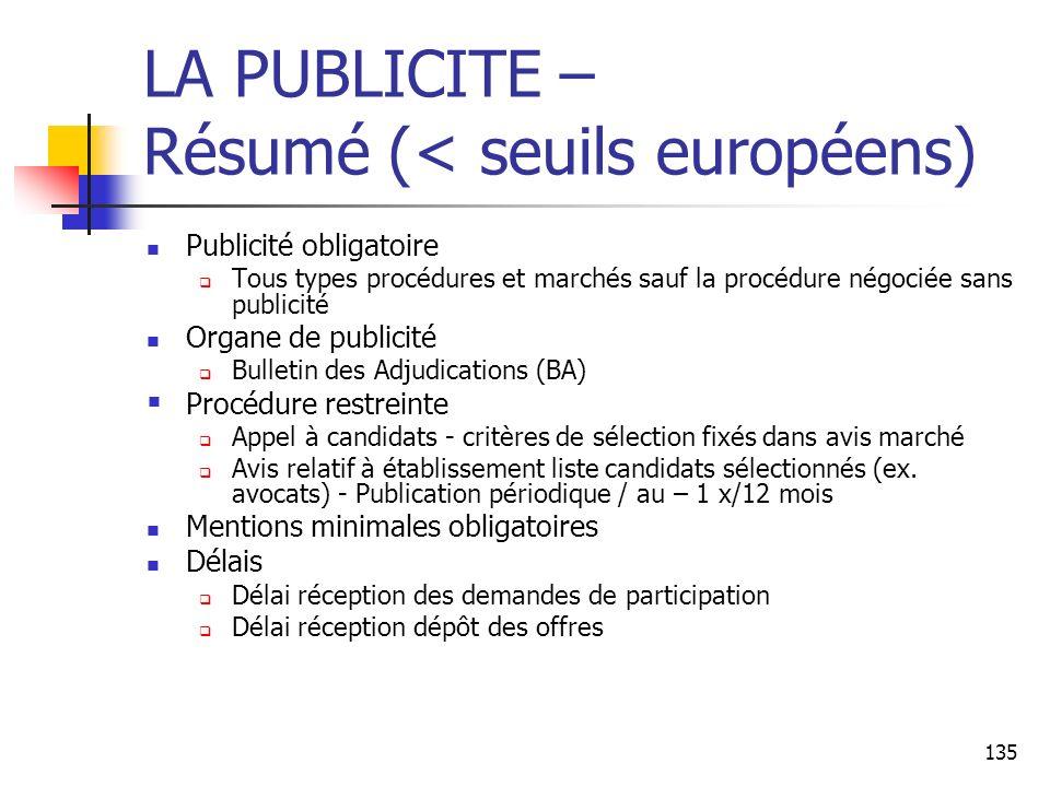 LA PUBLICITE – Résumé (< seuils européens)