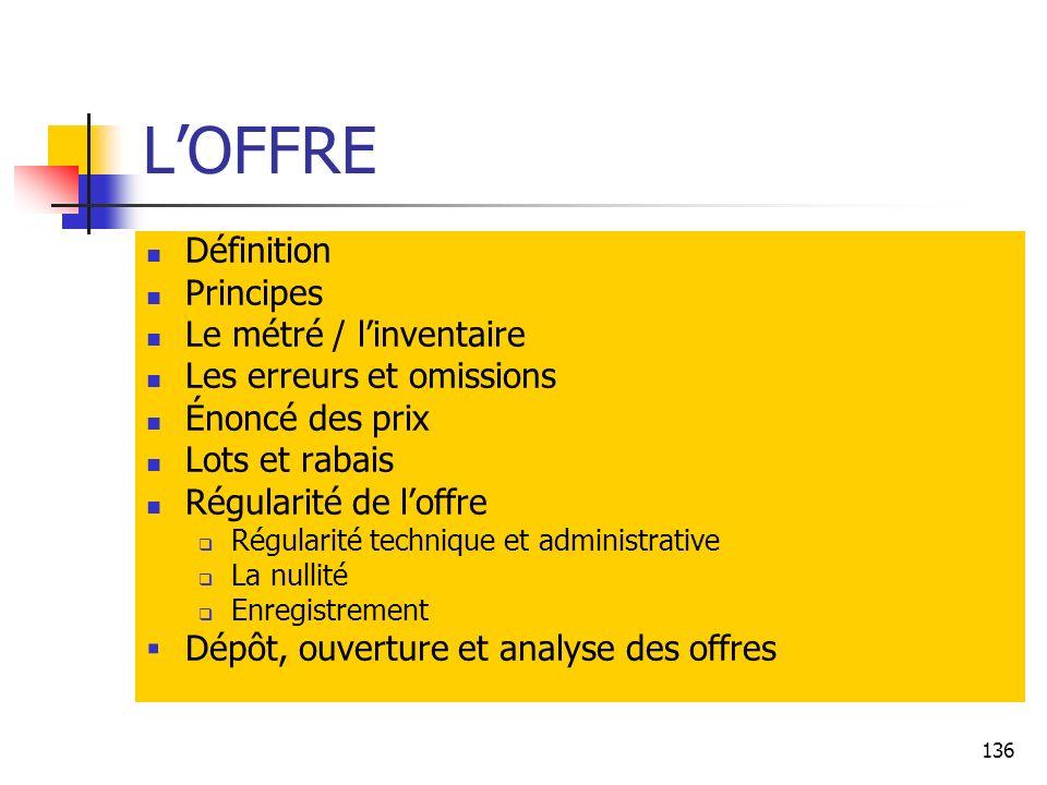 L'OFFRE Définition Principes Le métré / l'inventaire