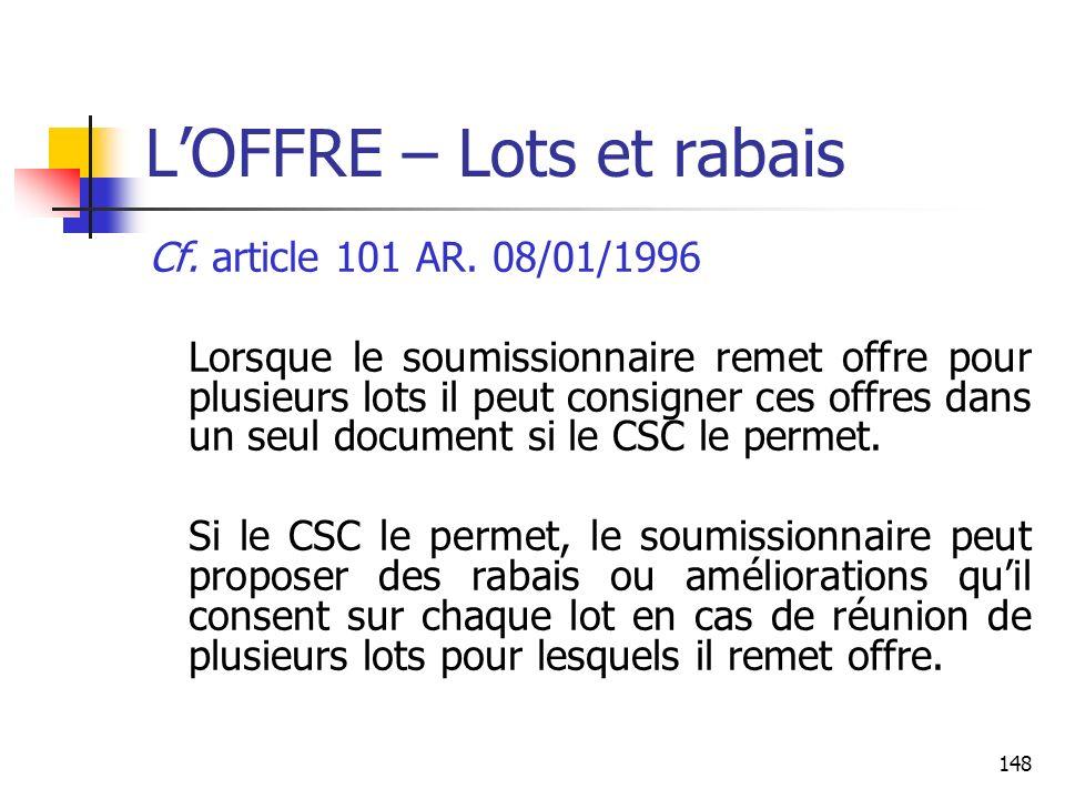 L'OFFRE – Lots et rabais