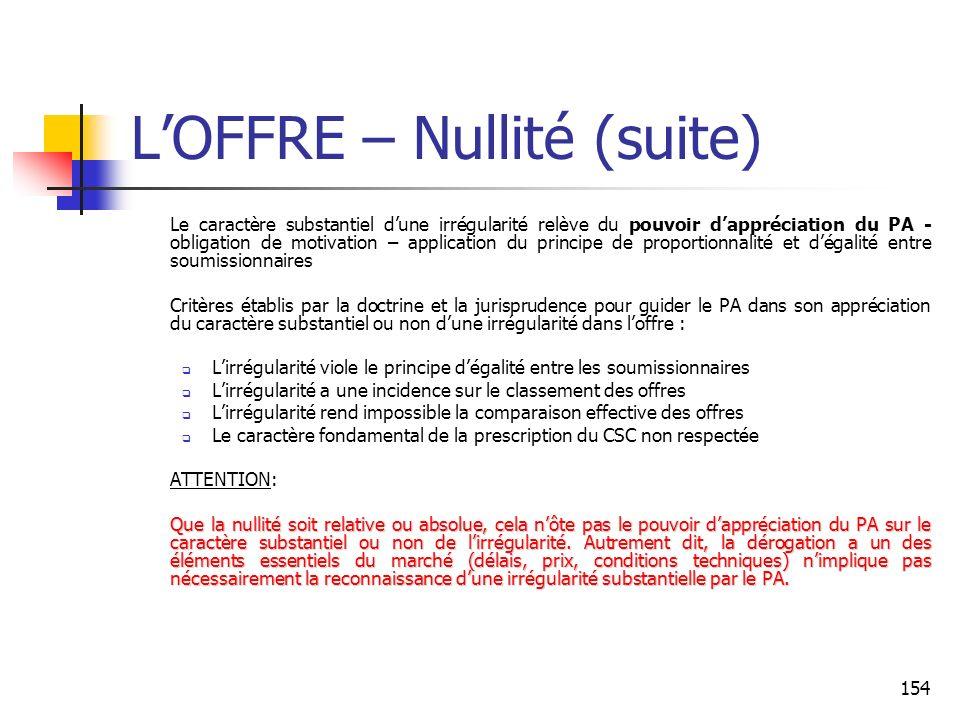 L'OFFRE – Nullité (suite)