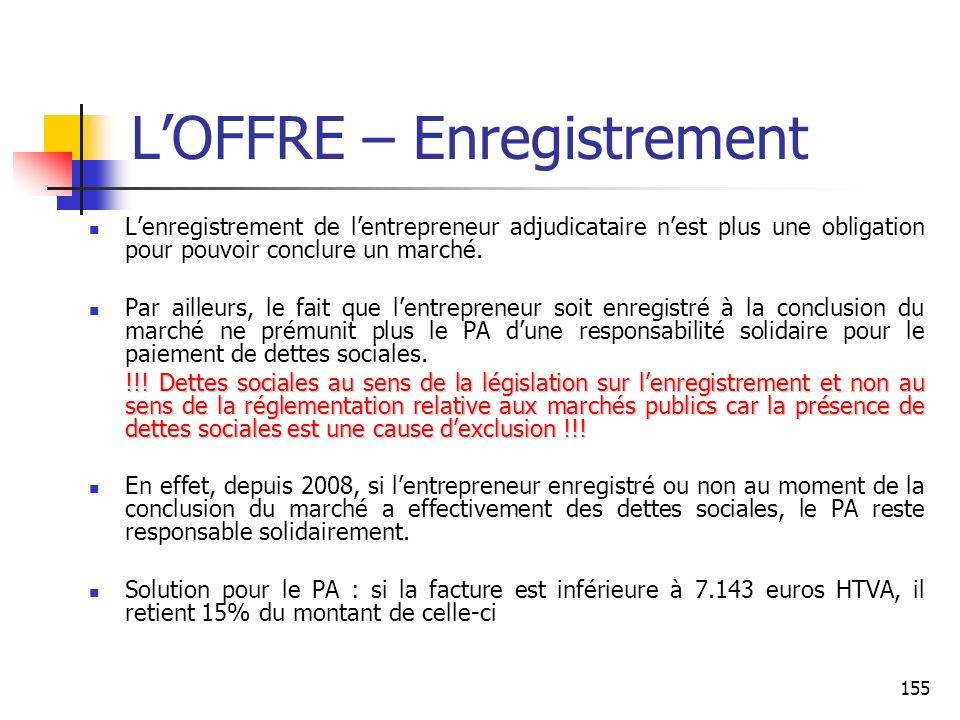 L'OFFRE – Enregistrement