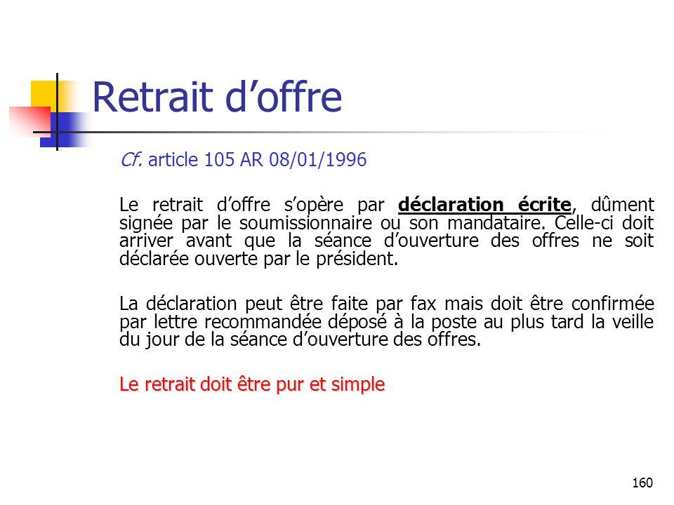 Retrait d'offre Cf. article 105 AR 08/01/1996