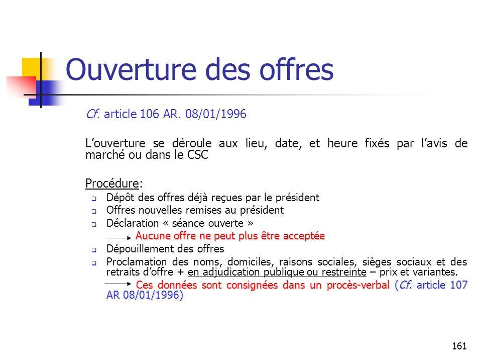 Ouverture des offres Cf. article 106 AR. 08/01/1996