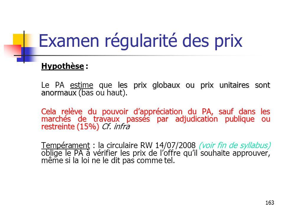 Examen régularité des prix