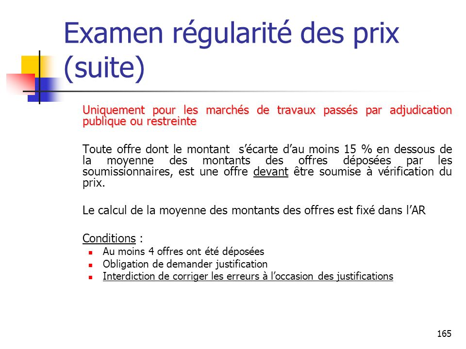 Examen régularité des prix (suite)