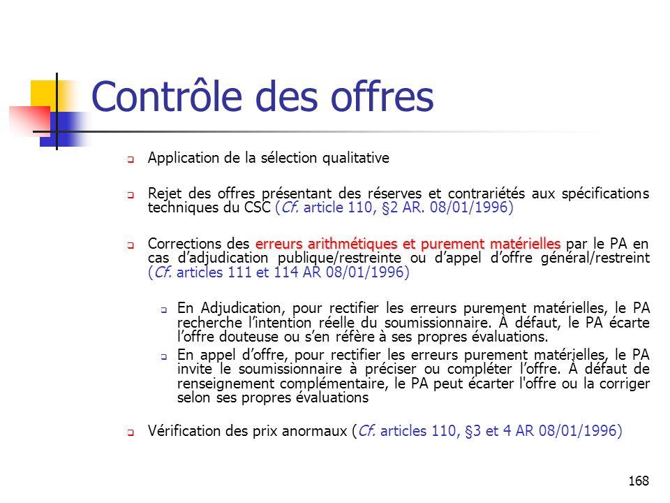 Contrôle des offres Application de la sélection qualitative