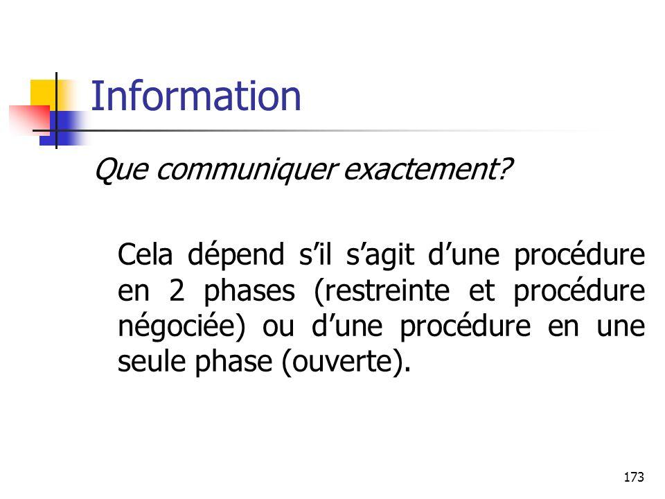 Information Que communiquer exactement