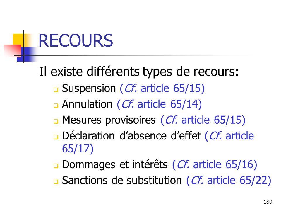 RECOURS Il existe différents types de recours: