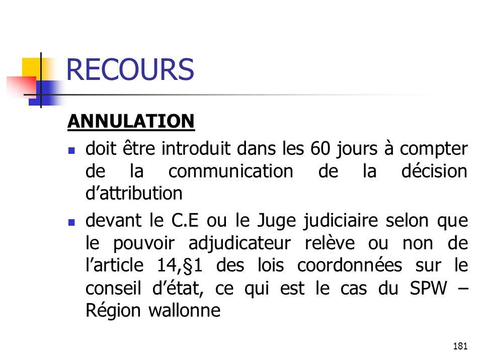 RECOURS ANNULATION. doit être introduit dans les 60 jours à compter de la communication de la décision d'attribution.