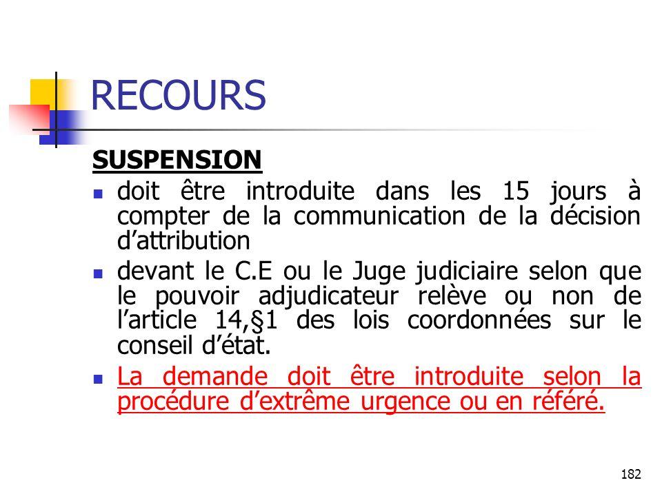 RECOURS SUSPENSION. doit être introduite dans les 15 jours à compter de la communication de la décision d'attribution.