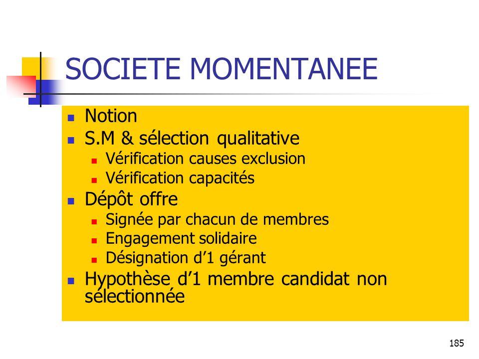SOCIETE MOMENTANEE Notion S.M & sélection qualitative Dépôt offre