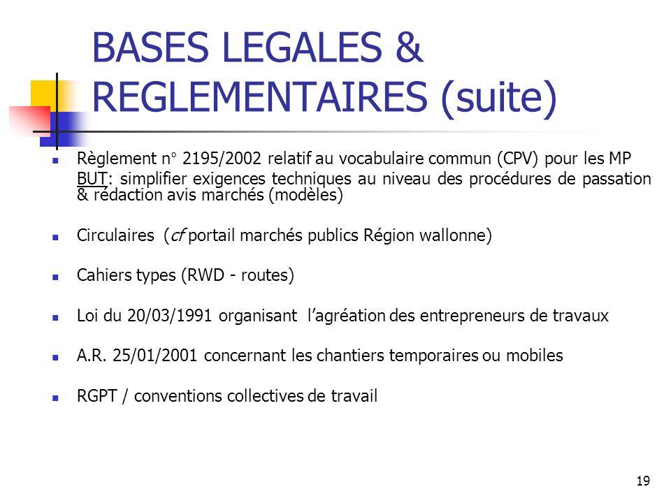 BASES LEGALES & REGLEMENTAIRES (suite)