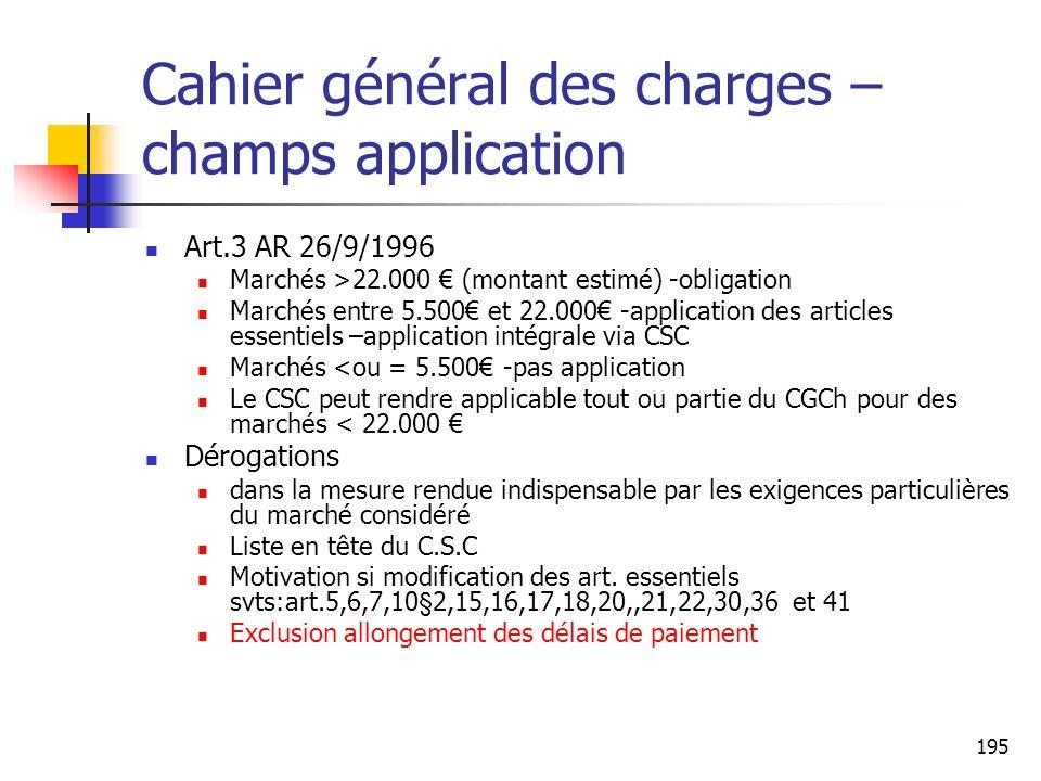 Cahier général des charges – champs application