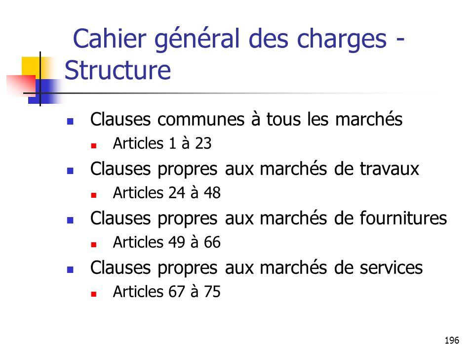 Cahier général des charges - Structure