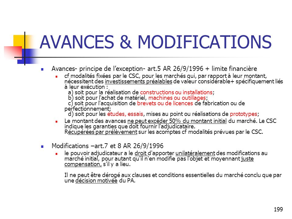 AVANCES & MODIFICATIONS