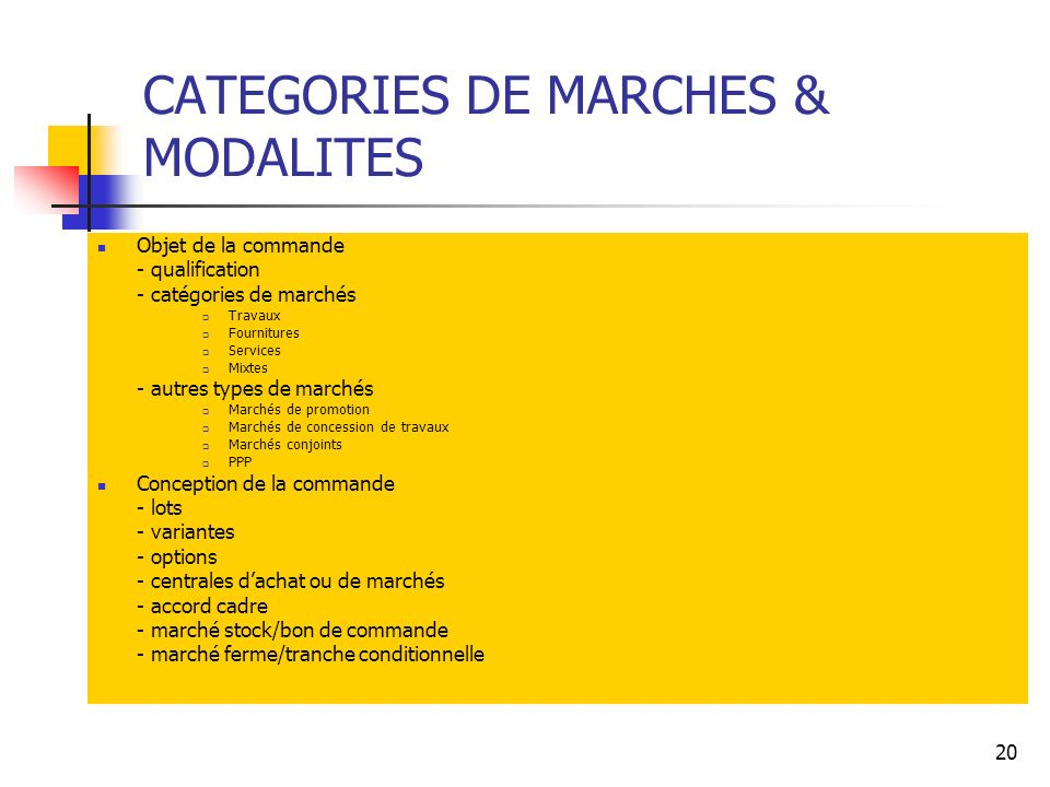 CATEGORIES DE MARCHES & MODALITES