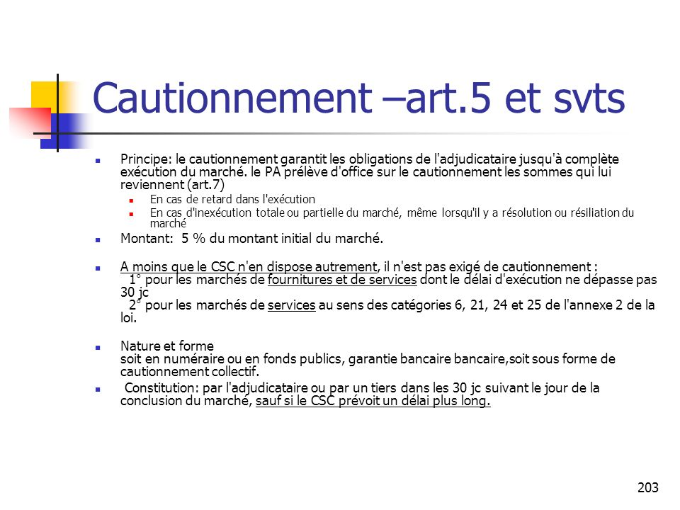 Cautionnement –art.5 et svts