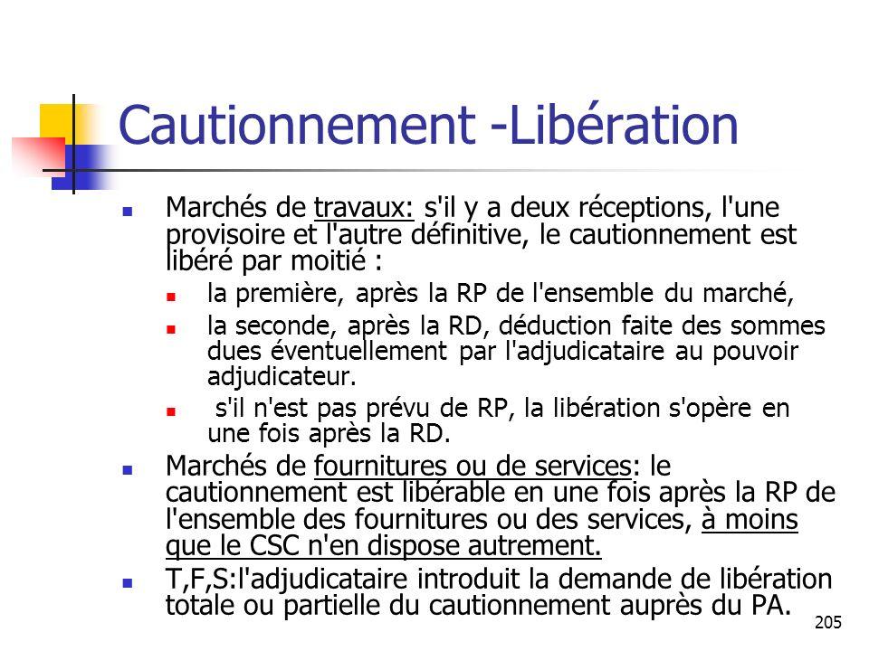 Cautionnement -Libération