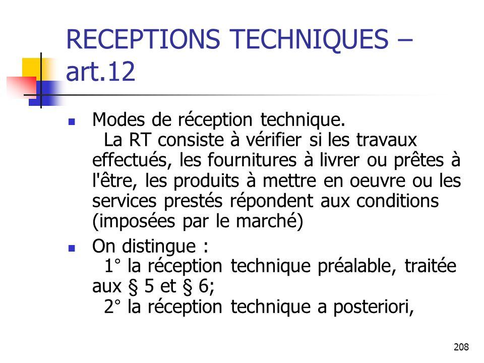 RECEPTIONS TECHNIQUES –art.12