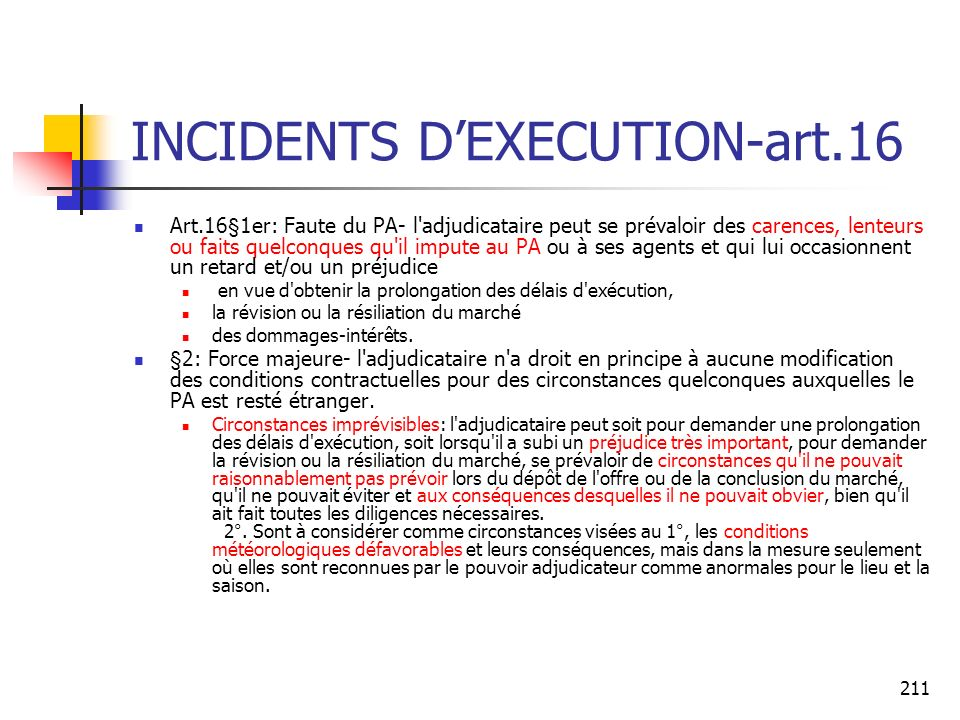 INCIDENTS D'EXECUTION-art.16