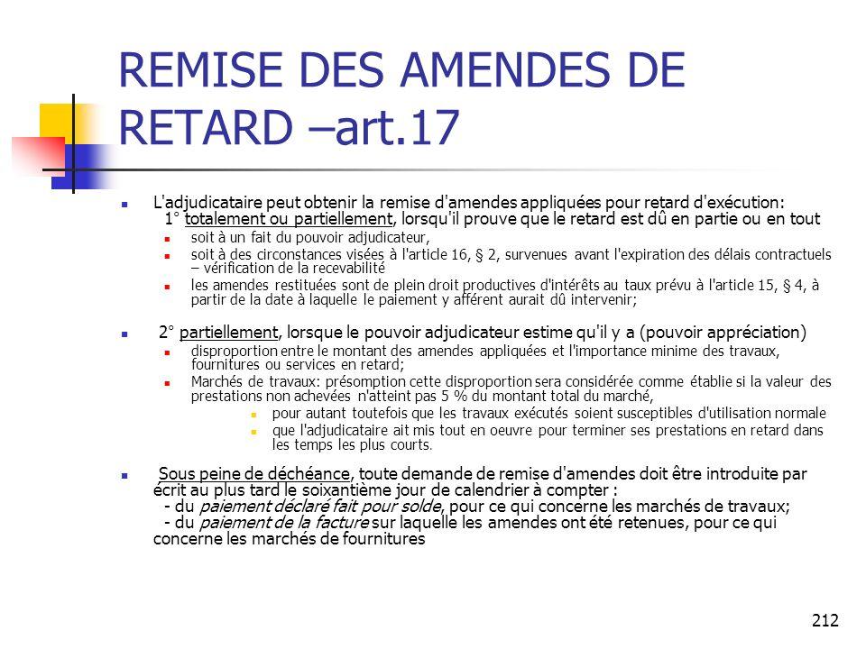 REMISE DES AMENDES DE RETARD –art.17