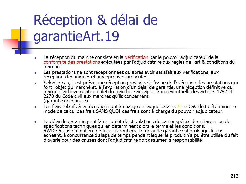 Réception & délai de garantieArt.19