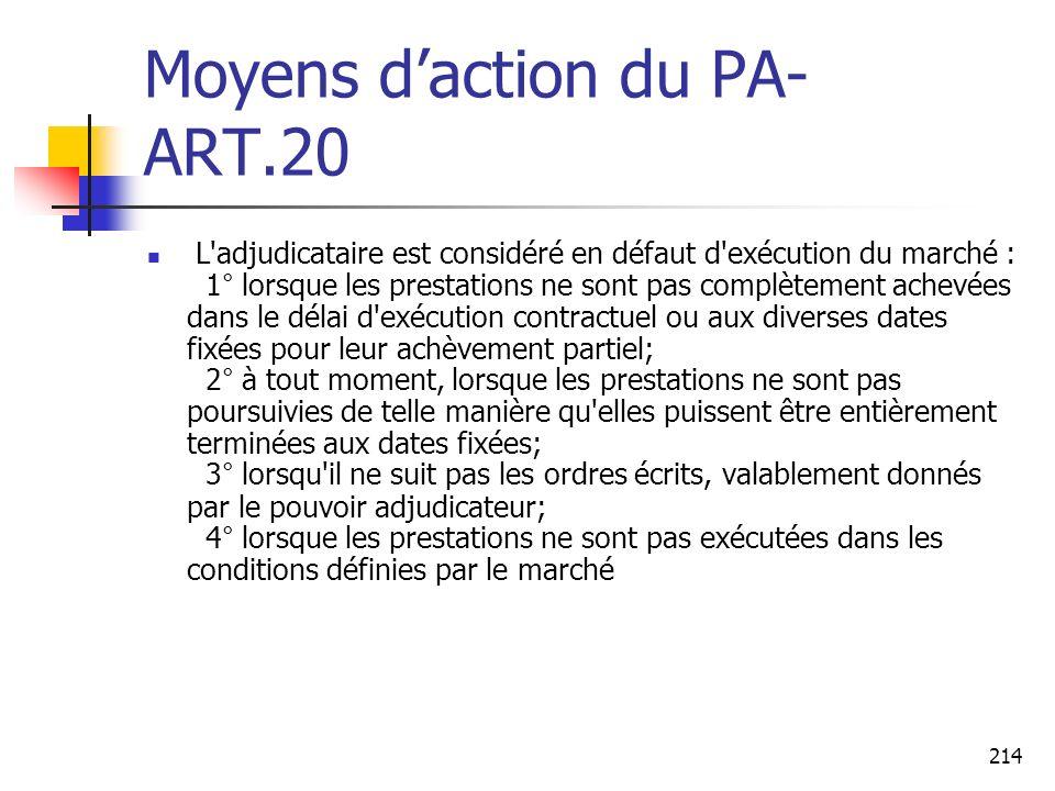 Moyens d'action du PA- ART.20