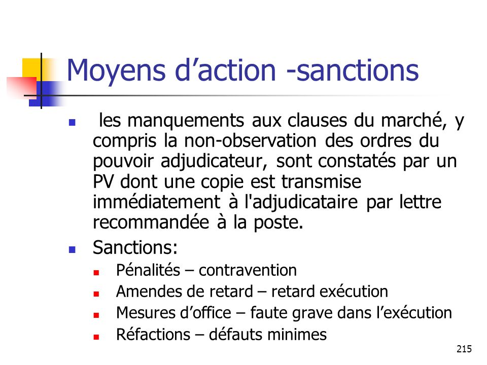 Moyens d'action -sanctions