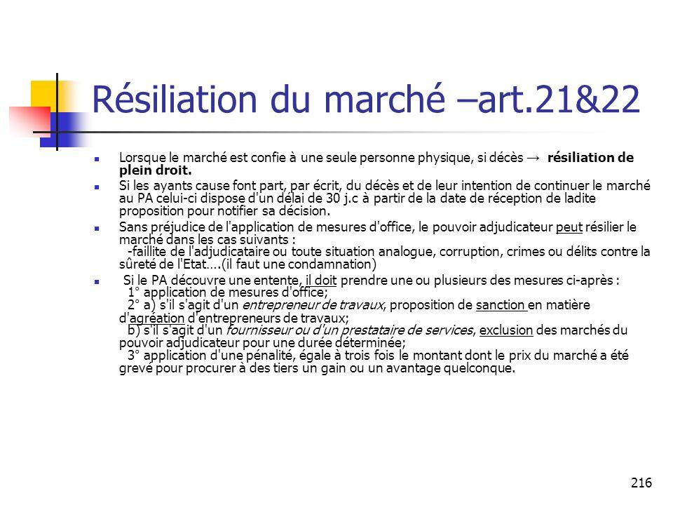 Résiliation du marché –art.21&22