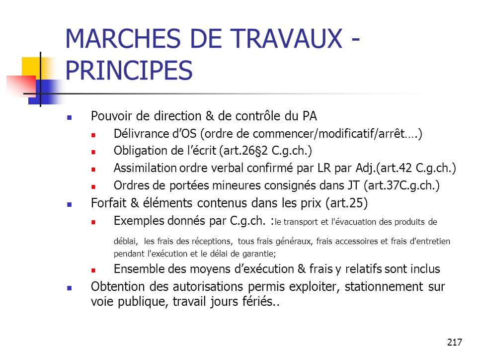 MARCHES DE TRAVAUX -PRINCIPES