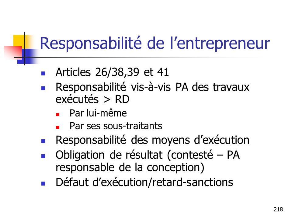 Responsabilité de l'entrepreneur