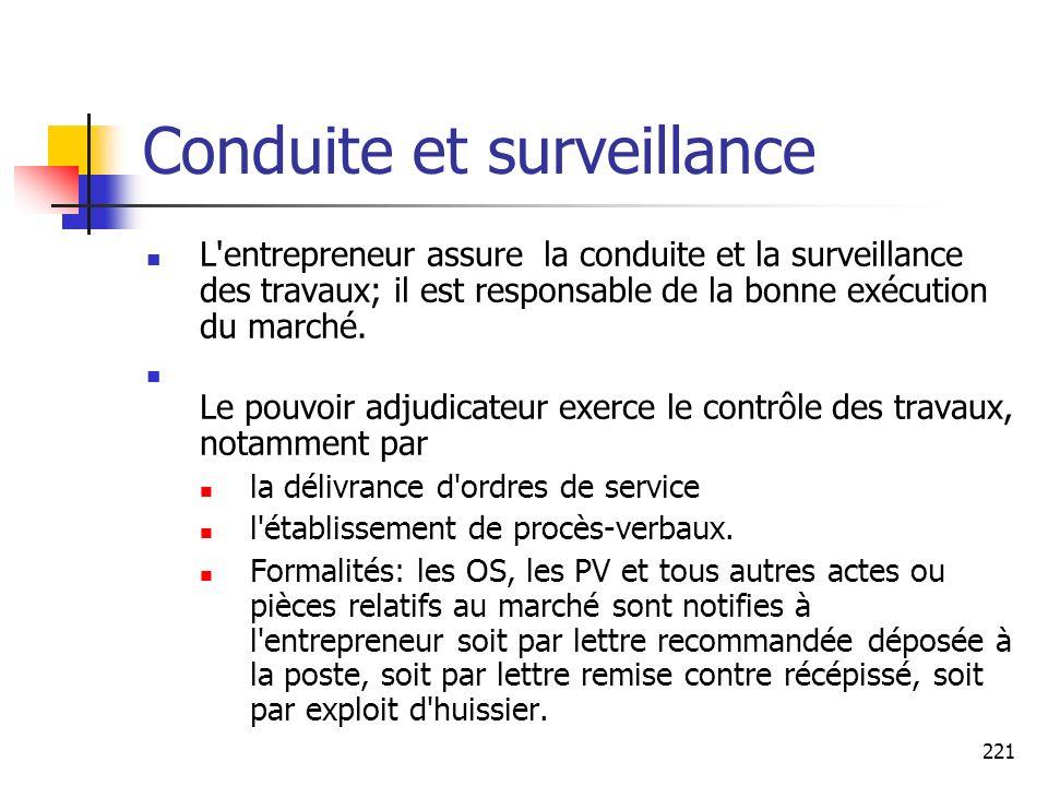 Conduite et surveillance
