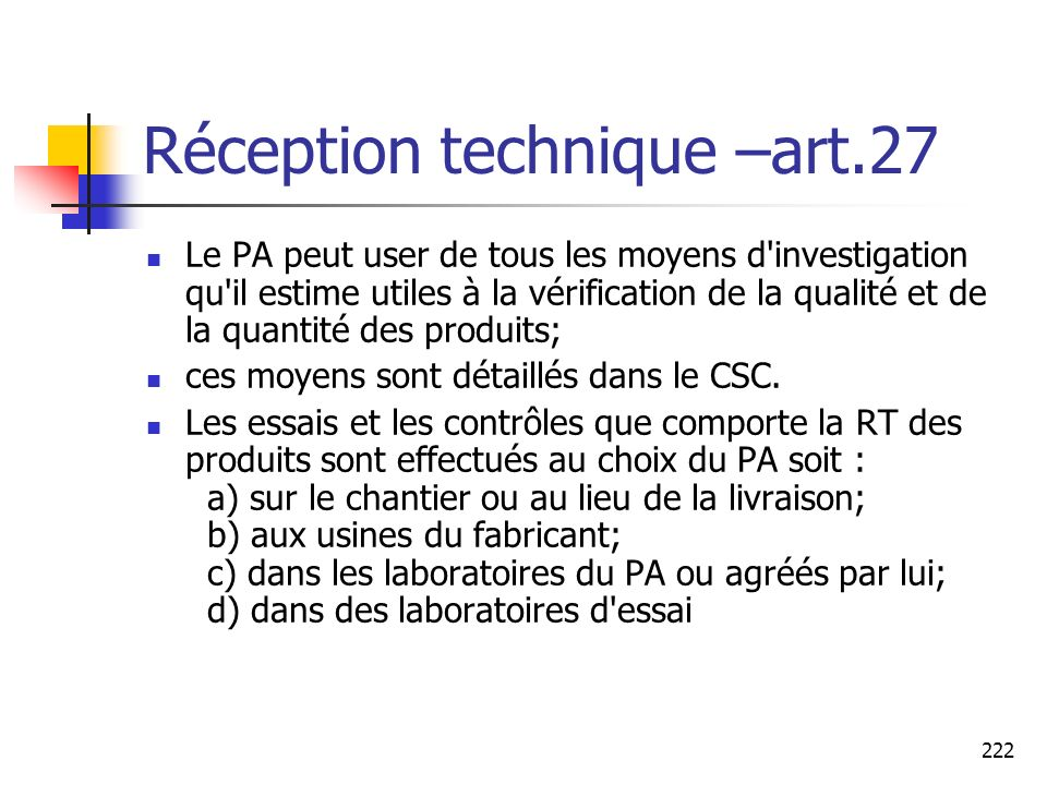 Réception technique –art.27
