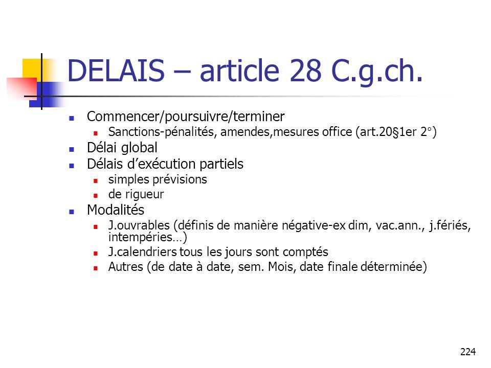 DELAIS – article 28 C.g.ch. Commencer/poursuivre/terminer Délai global