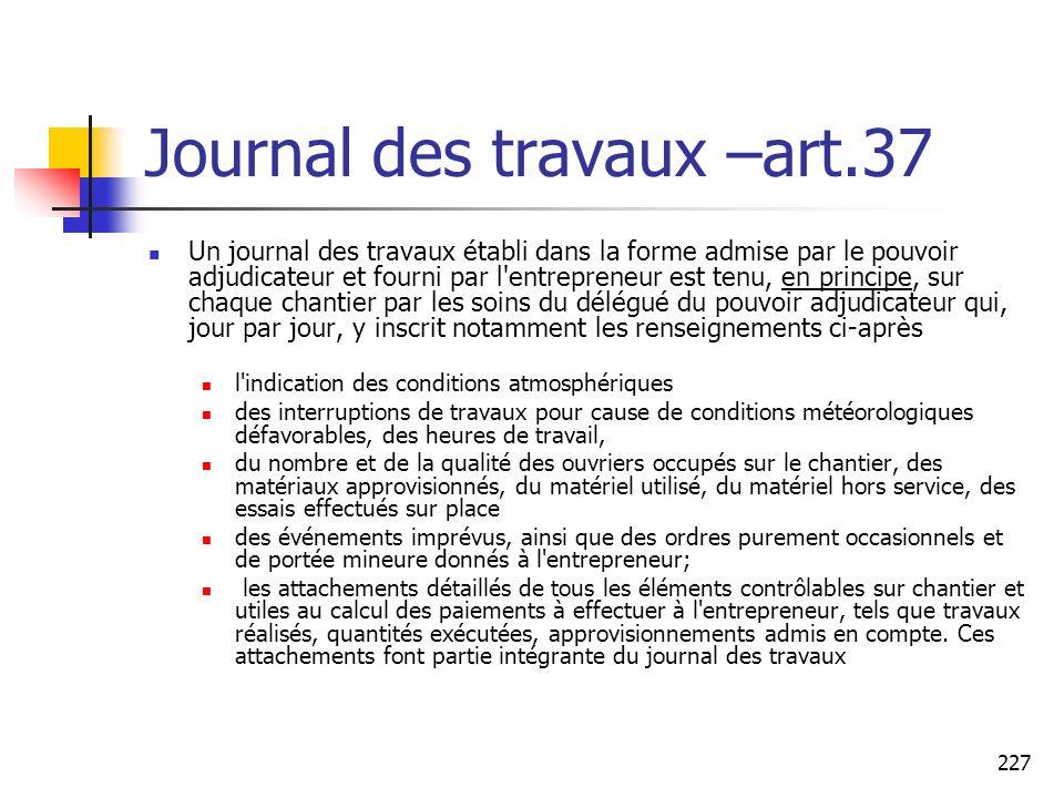 Journal des travaux –art.37