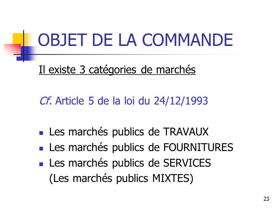 OBJET DE LA COMMANDE Il existe 3 catégories de marchés