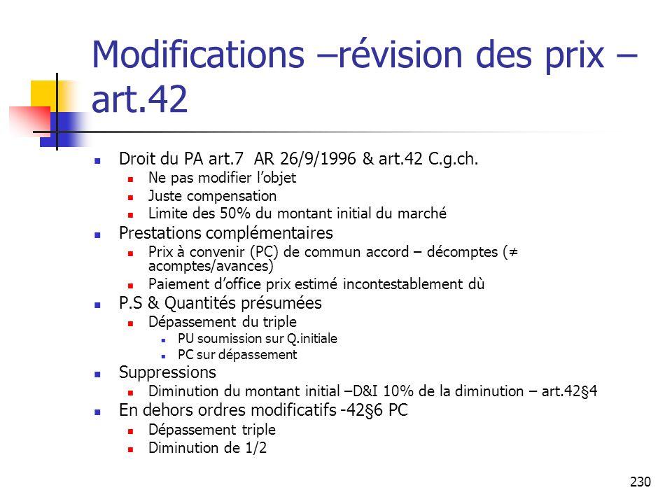 Modifications –révision des prix –art.42