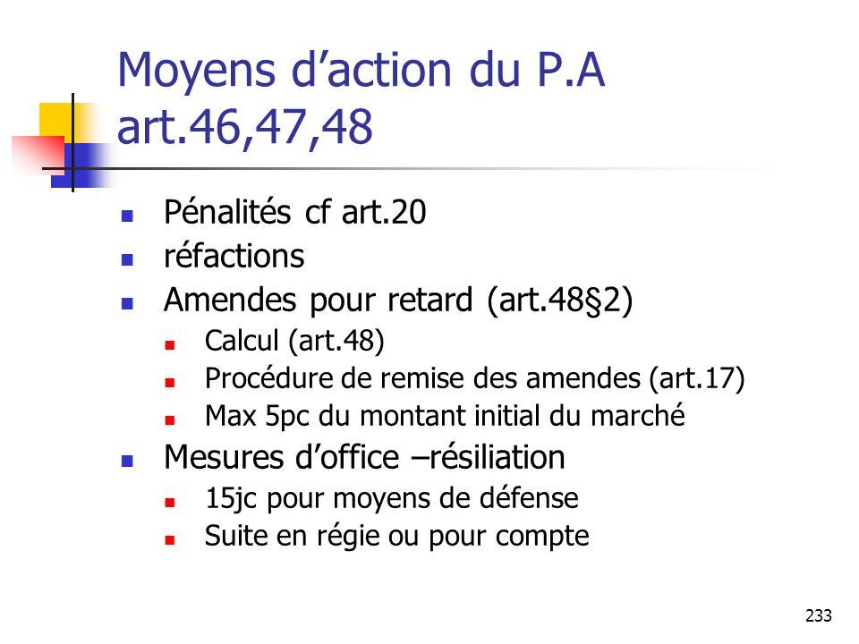 Moyens d'action du P.A art.46,47,48