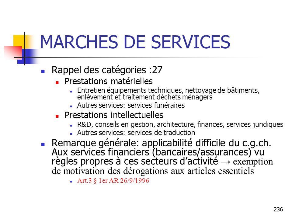 MARCHES DE SERVICES Rappel des catégories :27