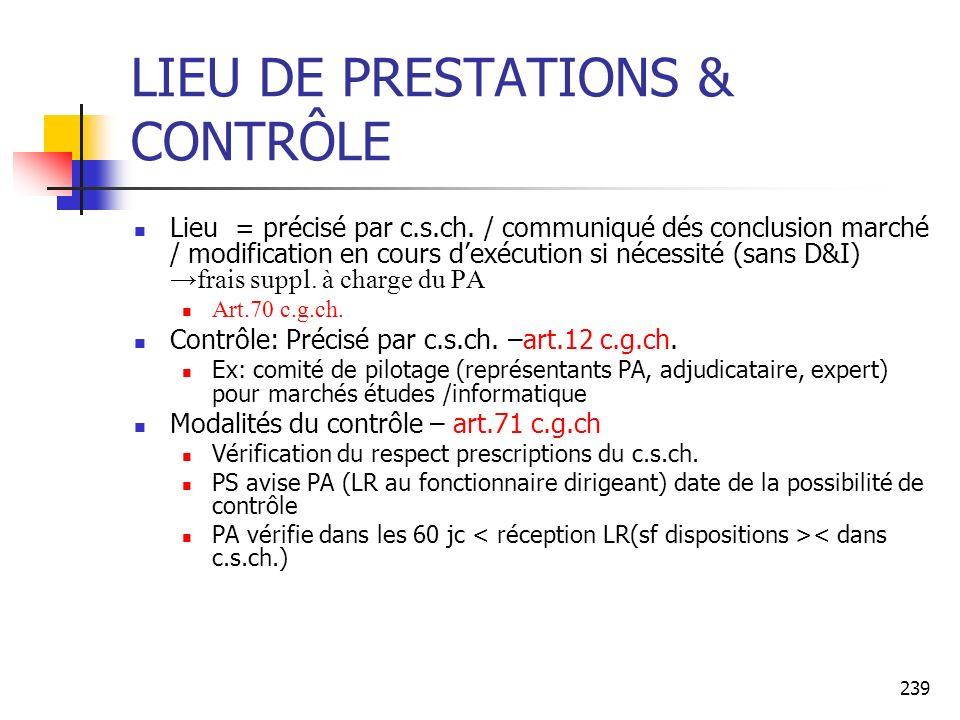 LIEU DE PRESTATIONS & CONTRÔLE