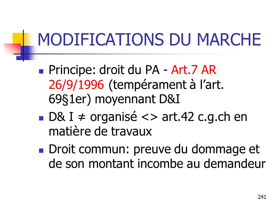 MODIFICATIONS DU MARCHE