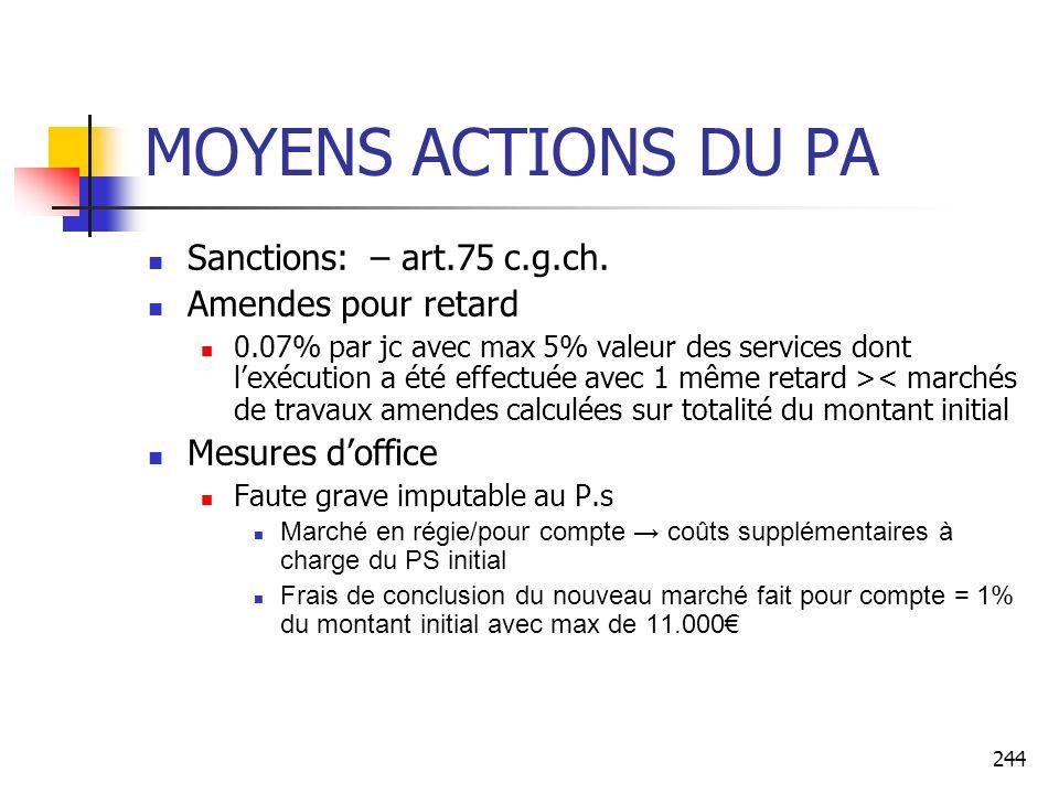 MOYENS ACTIONS DU PA Sanctions: – art.75 c.g.ch. Amendes pour retard