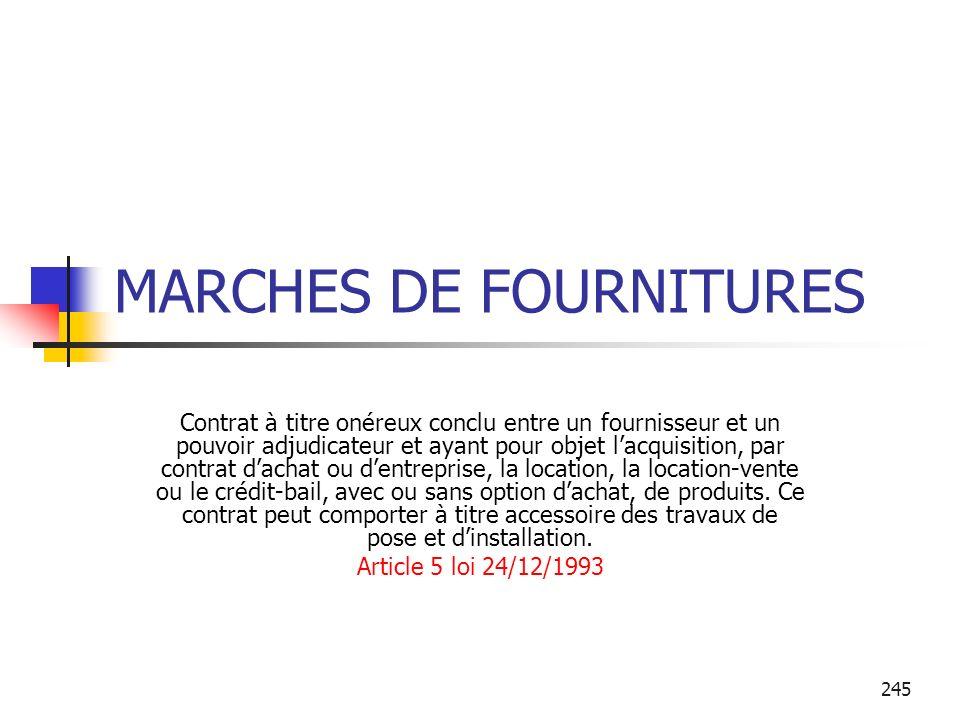 MARCHES DE FOURNITURES
