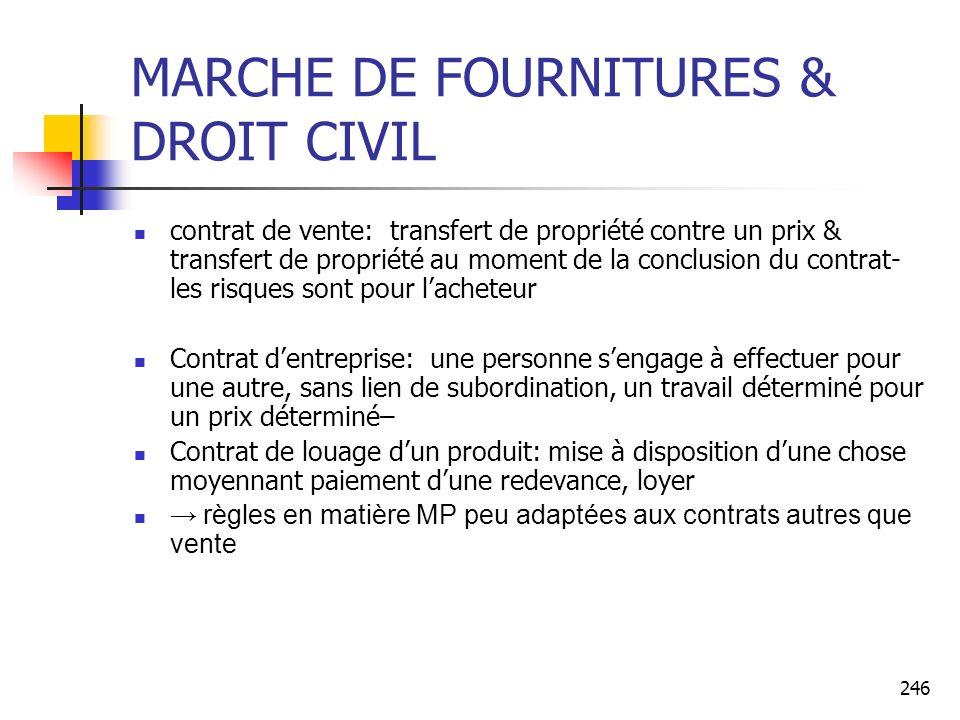 MARCHE DE FOURNITURES & DROIT CIVIL