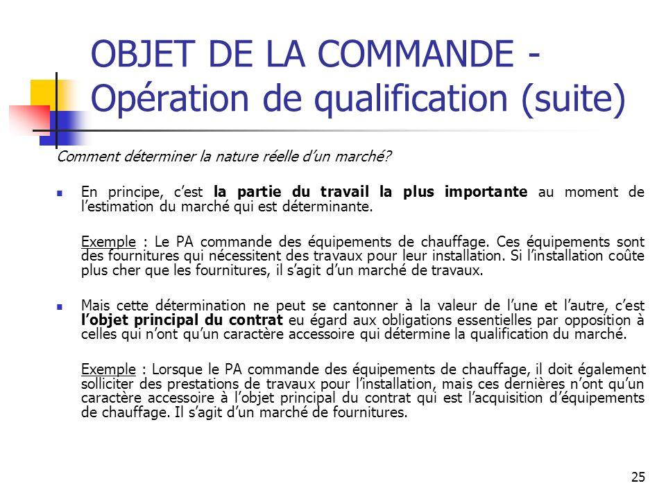 OBJET DE LA COMMANDE - Opération de qualification (suite)