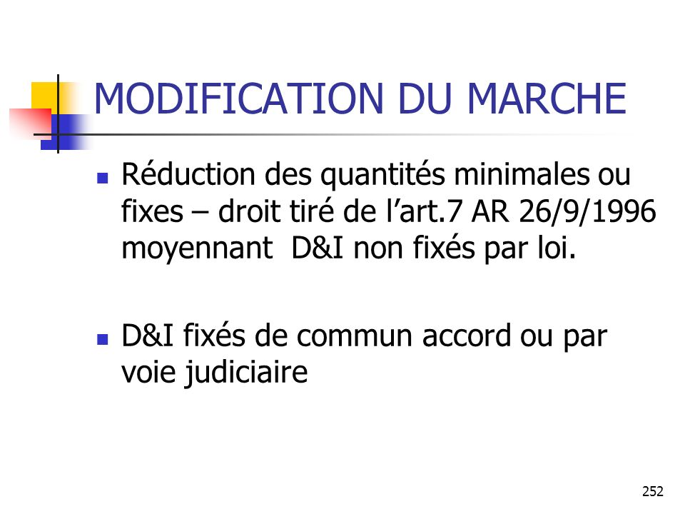 MODIFICATION DU MARCHE