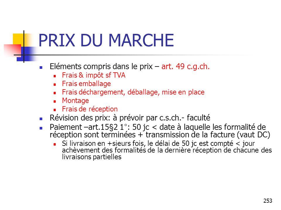 PRIX DU MARCHE Eléments compris dans le prix – art. 49 c.g.ch.