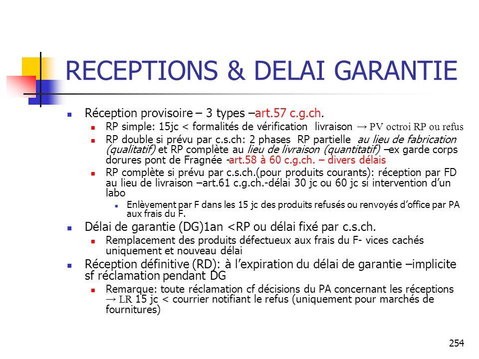 RECEPTIONS & DELAI GARANTIE
